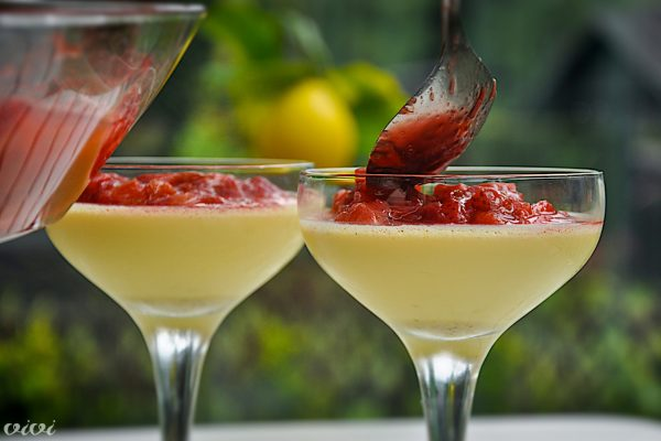 jajcna krema s tonko rabarbara in jagode