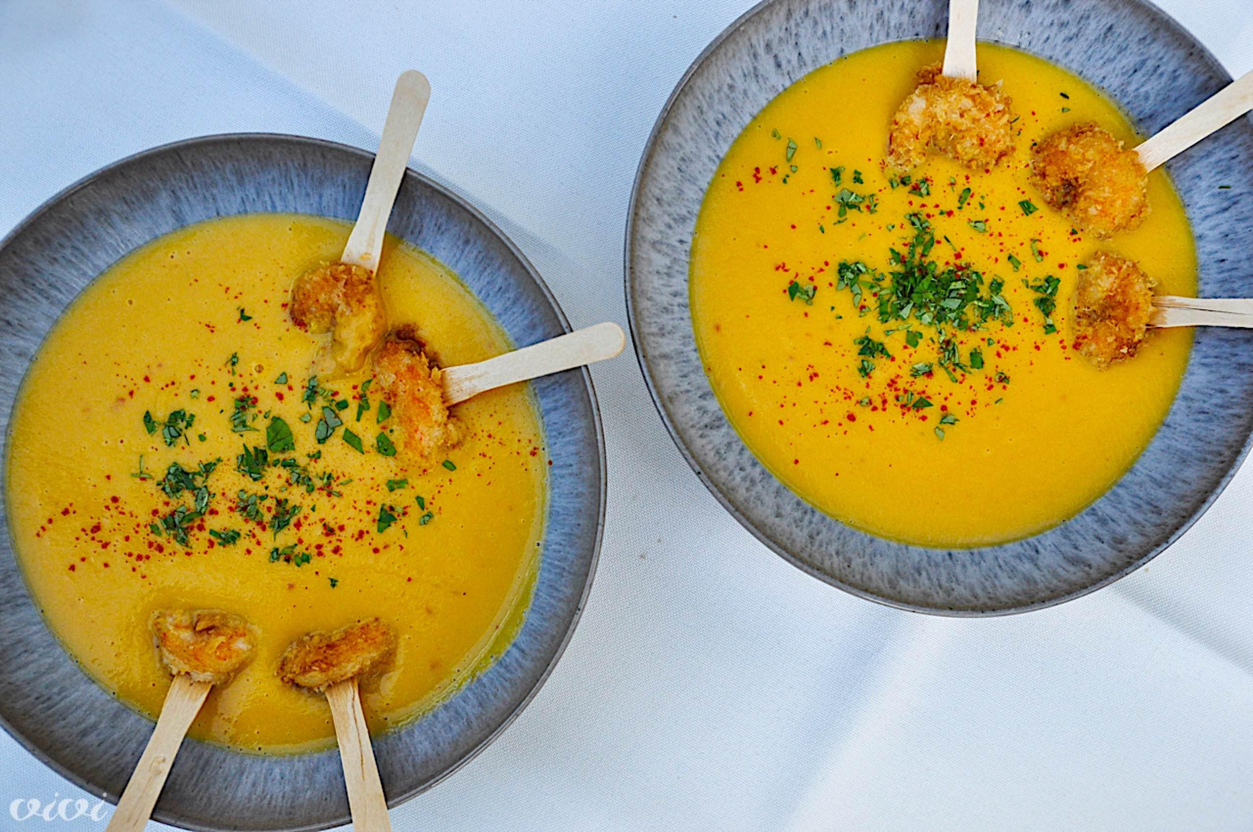 juha sladkega krompirja in panko kozice