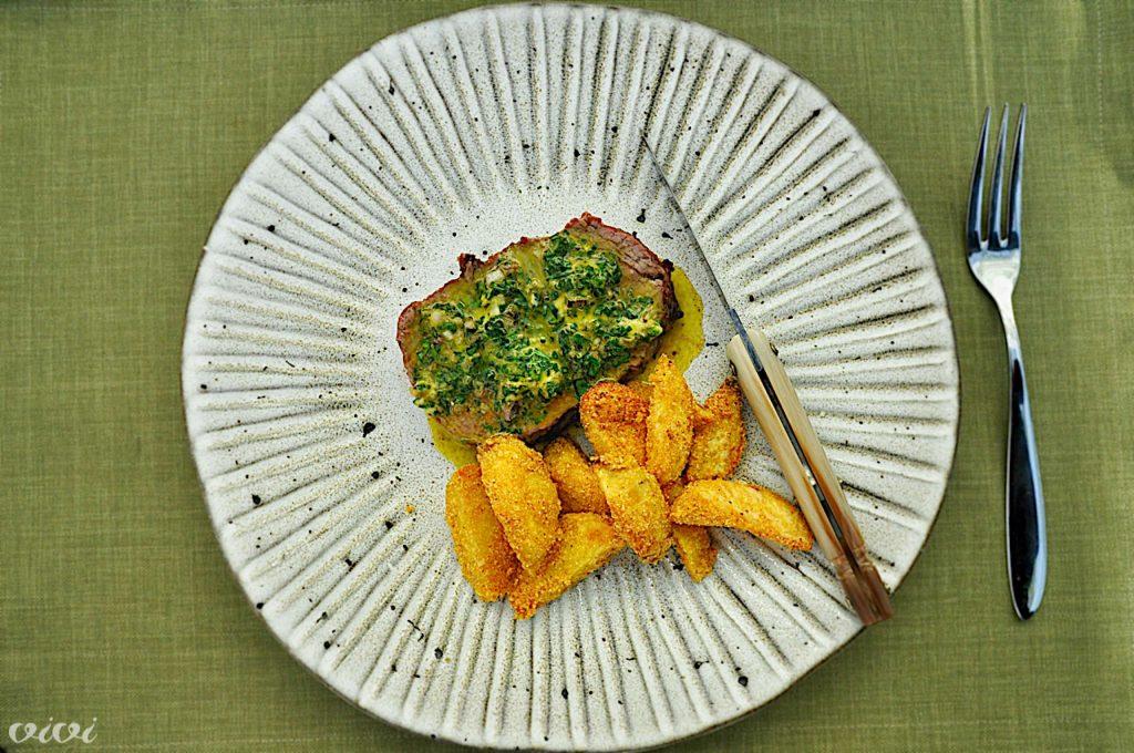 steak zeliščno maslo frites s polento