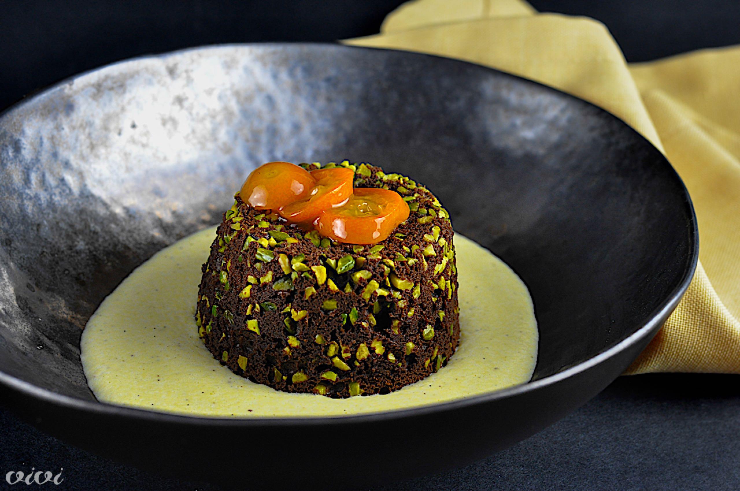 cokoladni puding s pistacijami