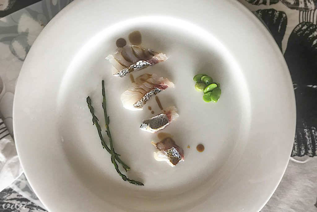orada sashimi popečen po koži