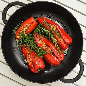 sredozemsko polnjene paprike in lečina solata priprava