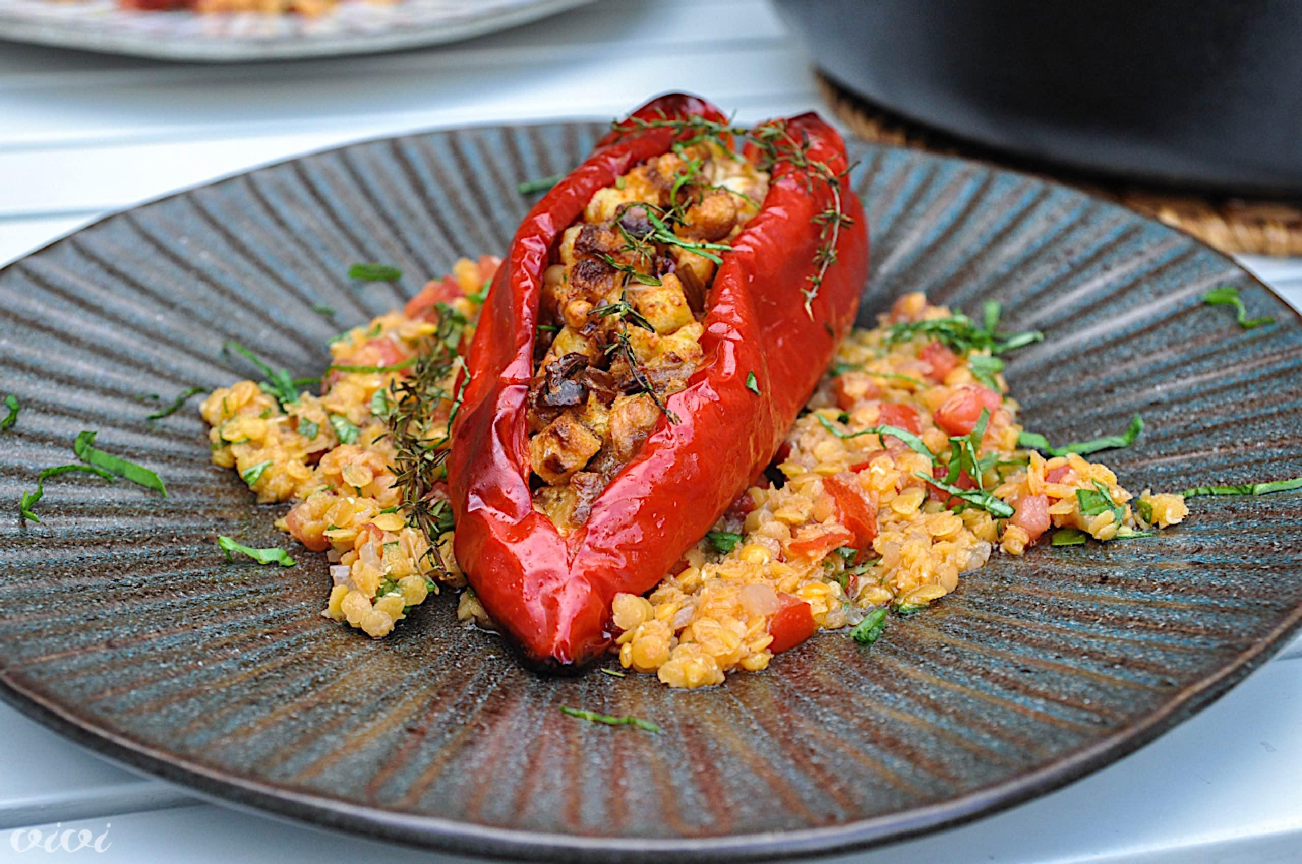 sredozemsko polnjene paprike in lečina solata4