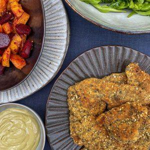 ocvrti piščančji zrezki sladki krompir rdeča pesa slana limona iz pečice bulna majoneza3