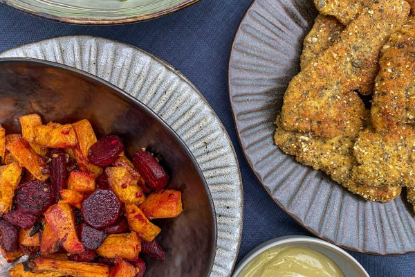 ocvrti piščančji zrezki sladki krompir rdeča pesa slana limona iz pečice bulna majoneza5