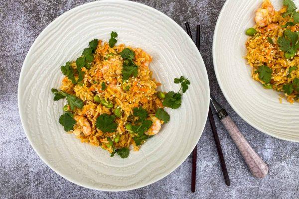 pečen riž z edamame in kozicami017