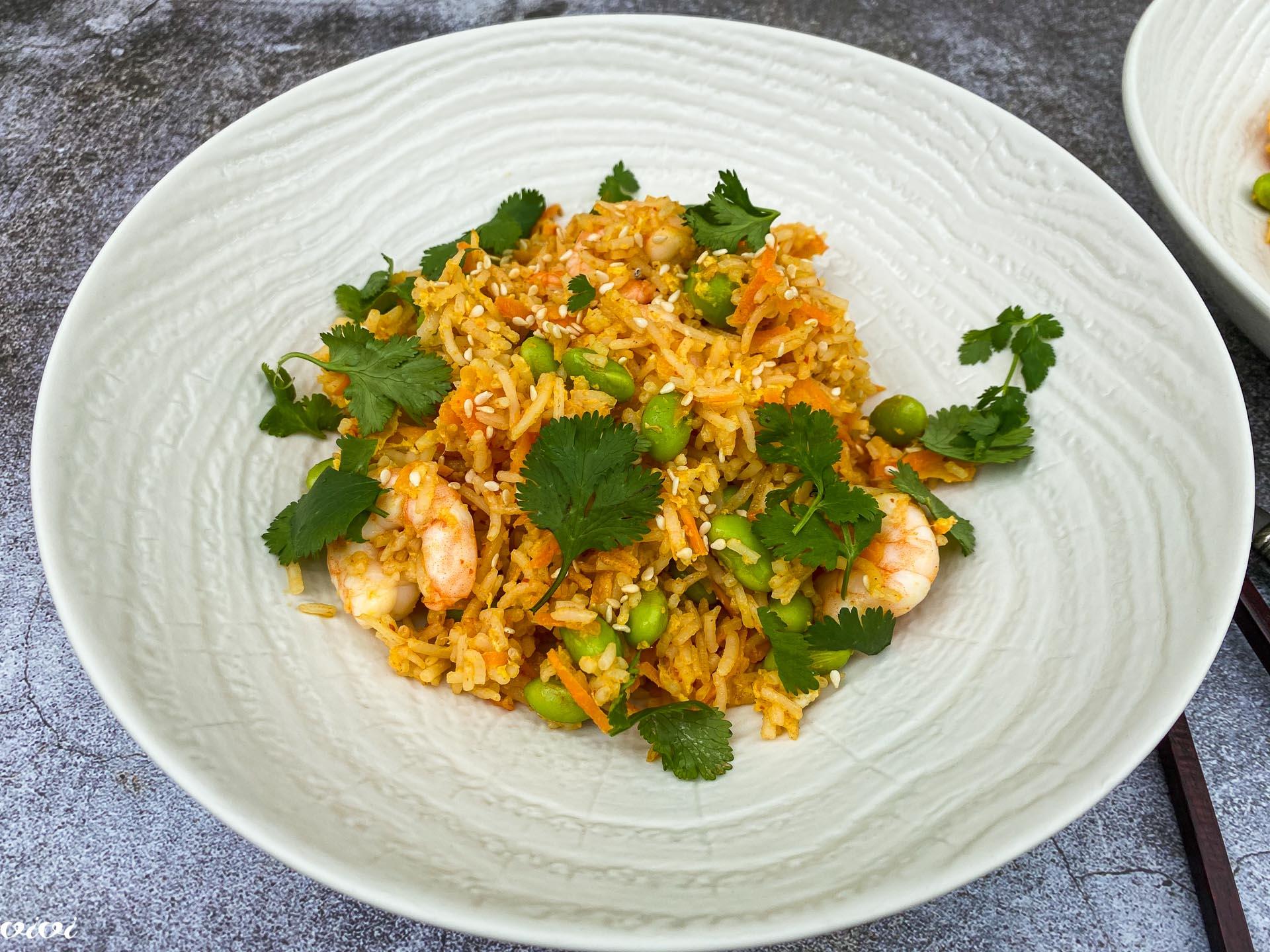 pečen riž z edamame in kozicami025
