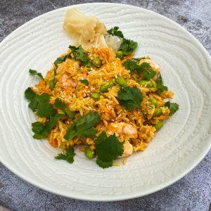 pečen riž z edamame in kozicami038