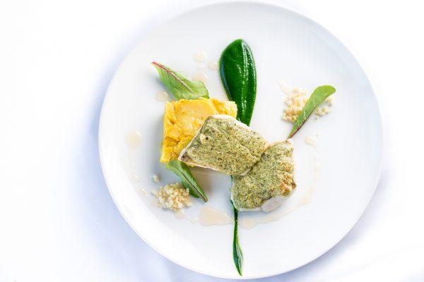 Restavracija Ajda TR21p Smuč, bučna semena, kozji sir, bezeg, mlada špinača, krompir in žafran