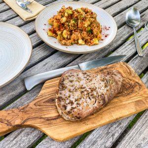 Bulgur solata s kumaro in melancani, pečena tuna12