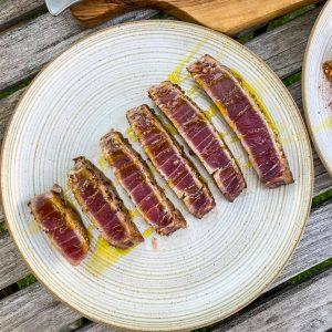 Bulgur solata s kumaro in melancani, pečena tuna5