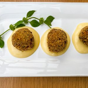 Melancanove kroglice z drobtinami, gorčična majoneza4